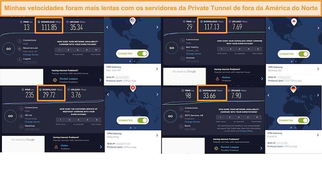 Captura de tela de 4 testes de velocidade por meio de uma conexão de túnel privado.