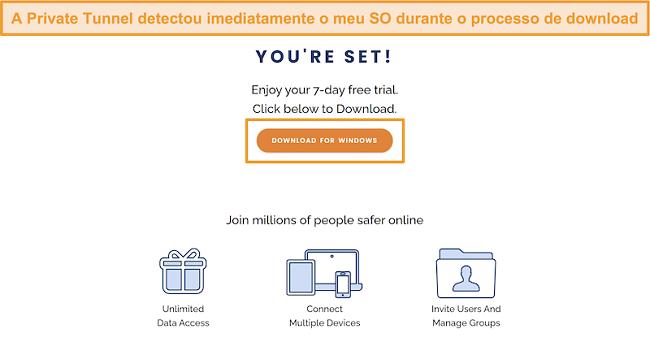 Captura de tela da tela de download do Túnel Privado