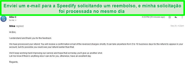 Captura de tela de um e-mail do suporte do Speedify processando uma solicitação de reembolso