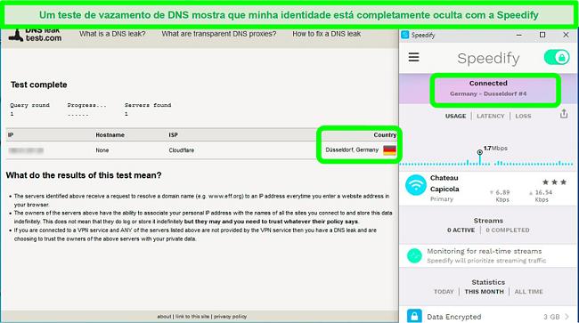 Captura de tela de um teste de vazamento de DNS enquanto o Speedify está conectado a um servidor alemão