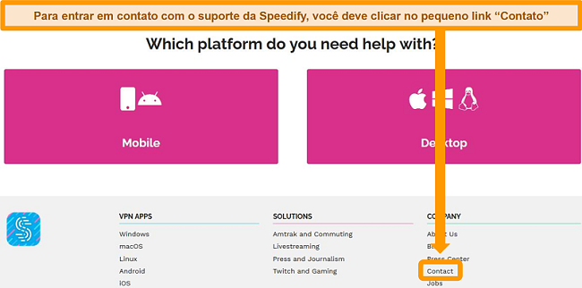 Captura de tela da página de suporte no site do Speedify