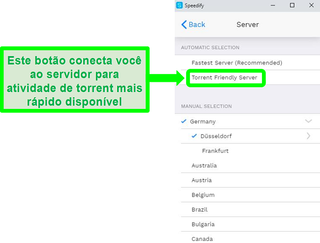 Captura de tela do menu de seleção de servidor do Speedify
