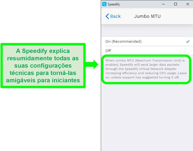 Captura de tela de uma explicação abaixo de uma das configurações do Speedify