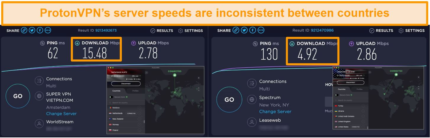 Screenshot of ProtonVPN connected to the Netherlands and the US with speed test results