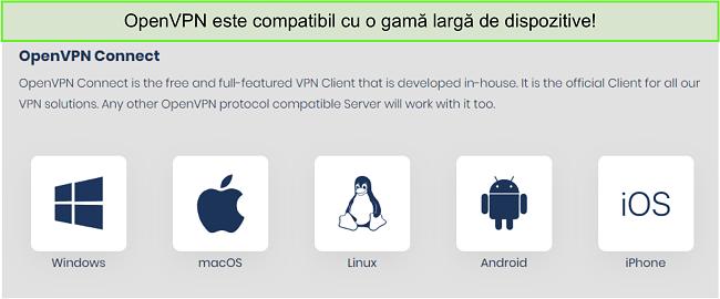 Captură de ecran a dispozitivelor pe care puteți obține OpenVPN.