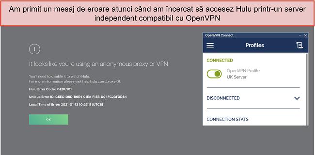 Captură de ecran a erorii Hulu VPN, cu aplicația OpenVPN deschisă lângă ea.