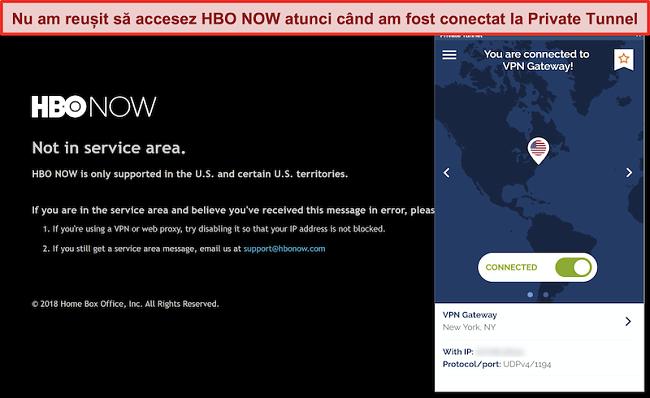 Captură de ecran a HBO ACUM care blochează o conexiune din tunelul privat