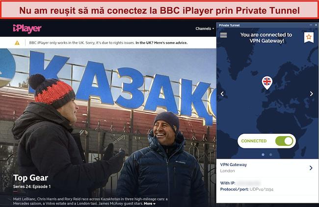 Captură de ecran a BBC iPlayer care blochează Tunelul privat