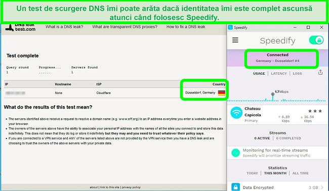 Captură de ecran a unui test de scurgere DNS în timp ce Speedify este conectat la un server german