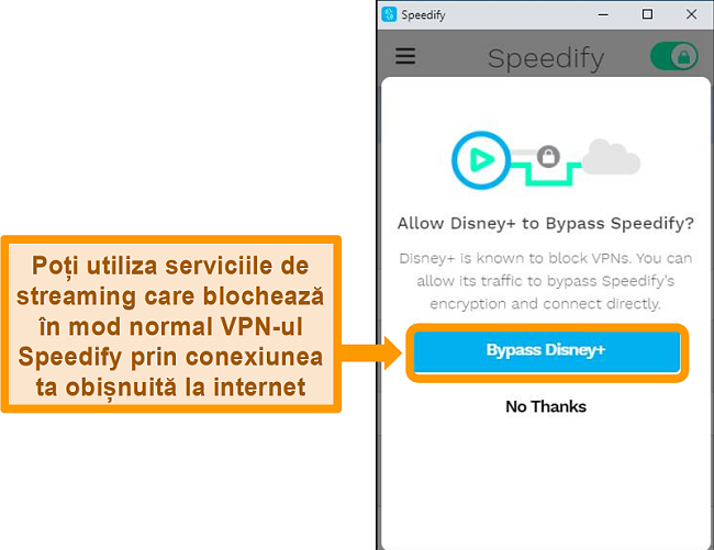 Captură de ecran a interfeței cu utilizatorul Speedify care prezintă o opțiune de bypass pentru Disney +