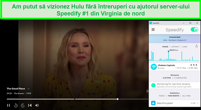 Captură de ecran a Netflix care joacă Unbreakable Kimmy Schmidt în timp ce Speedify este conectat la un server în spaniolă