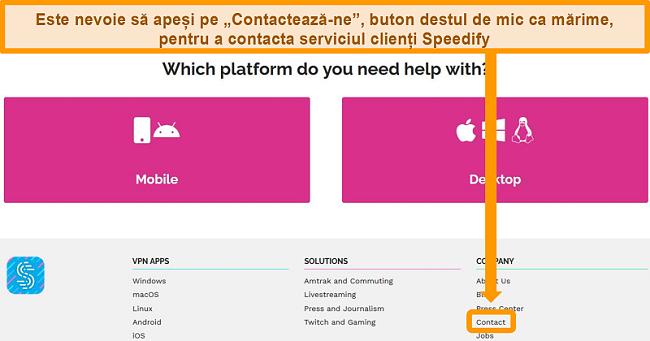 Captură de ecran a paginii de asistență de pe site-ul Speedify