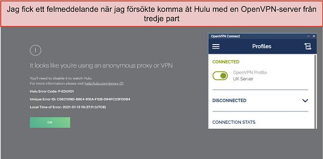 Skärmdump av Hulu VPN-fel, med OpenVPN-appen öppen bredvid den.