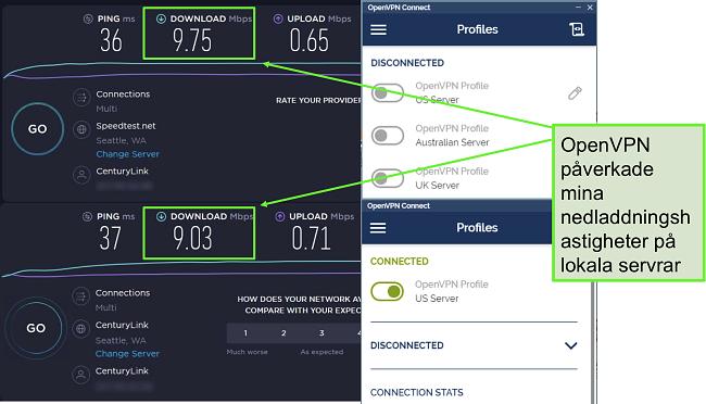 Skärmdump av två hastighetstester med mycket liknande data, båda använder en Seattle-server.