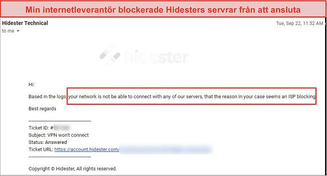 Skärmdump av Hidester blockerad av ISP