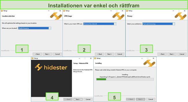 Skärmbilder av Hidesters installationsprocess