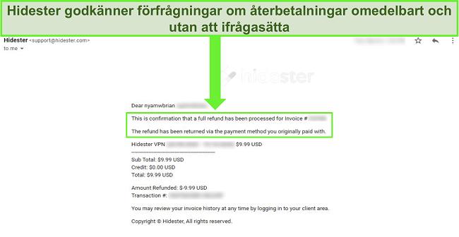 Skärmdump av Hidesters support som godkänner återbetalning