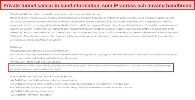 Skärmdump av Private Tunnels policy för datainsamling, lagring och användning.