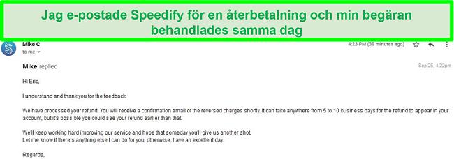 Skärmdump av ett e-postmeddelande från Speedify-support som behandlar en återbetalningsbegäran