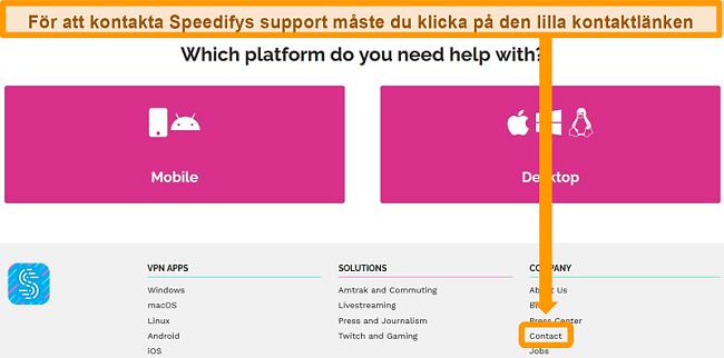 Skärmdump av supportsidan på Speedifys webbplats