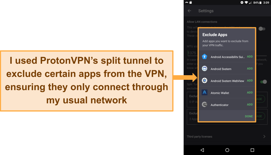 Screenshot of ProtonVPN's split tunnel