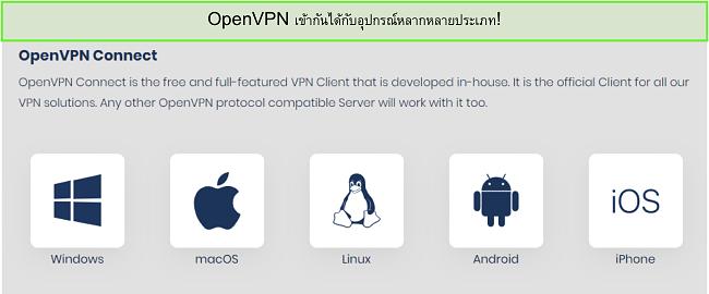 สกรีนช็อตของอุปกรณ์ที่คุณสามารถเปิด OpenVPN ได้