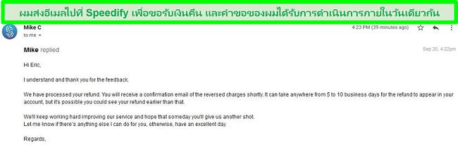 ภาพหน้าจอของอีเมลจากฝ่ายสนับสนุนของ Speedify กำลังดำเนินการขอคืนเงิน