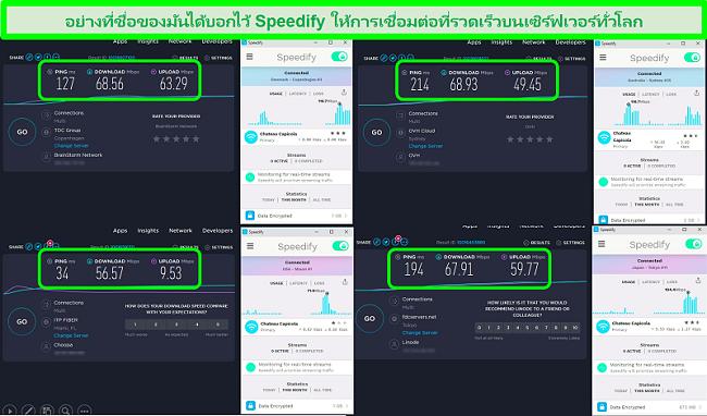 ภาพหน้าจอของการทดสอบความเร็วขณะที่ Speedify เชื่อมต่อกับเซิร์ฟเวอร์ในเดนมาร์กออสเตรเลียสหรัฐอเมริกาและญี่ปุ่น