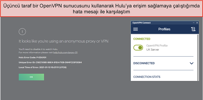 Yanında OpenVPN uygulaması açıkken Hulu VPN hatasının ekran görüntüsü.
