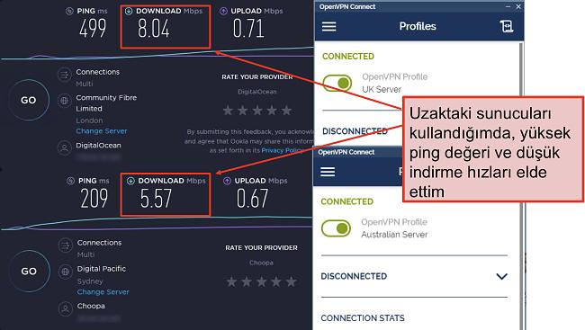 Biri Londra sunucusu, diğeri Sidney sunucusu olan iki hız testinin ekran görüntüsü