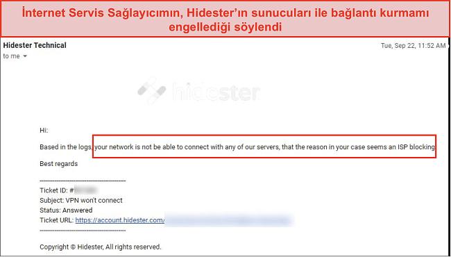 ISP tarafından engellenen Hidester ekran görüntüsü