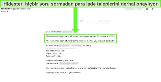 Geri ödemeyi onaylayan Hidester desteğinin ekran görüntüsü