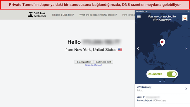 Japonya'daki bir sunucuya bağlı olmasına rağmen New York'tan bir bağlantıyı gösteren DNSleaktest.com ekran görüntüsü.