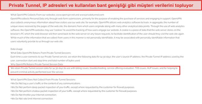 Private Tunnel'ın veri toplama, saklama ve kullanım politikasının ekran görüntüsü.