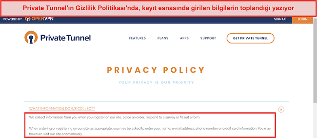 Private Tunnel Gizlilik Politikasının Ekran Görüntüsü