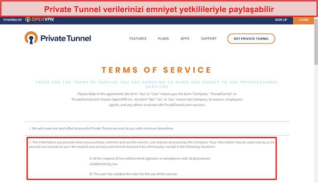Private Tunnel Hizmet Koşullarının Ekran Görüntüsü