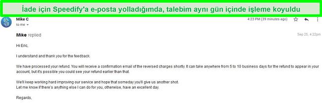 Geri ödeme talebini işleyen Speedify desteğinden gelen bir e-postanın ekran görüntüsü