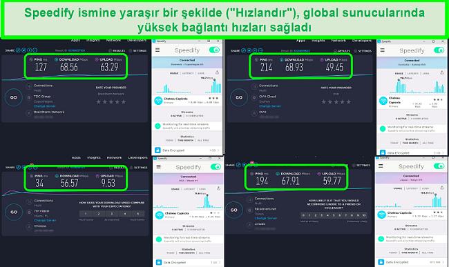 Speedify Danimarka, Avustralya, ABD ve Japonya'daki sunuculara bağlıyken hız testlerinin ekran görüntüsü