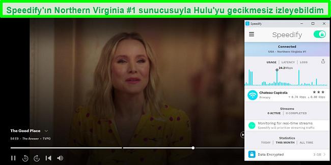 Speedify İspanyolca bir sunucuya bağlıyken Unbreakable Kimmy Schmidt'i oynayan Netflix'in ekran görüntüsü