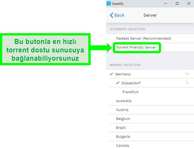 Speedify'ın sunucu seçim menüsünün ekran görüntüsü