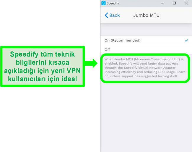 Speedify'ın ayarlarından birinin altındaki açıklamanın ekran görüntüsü