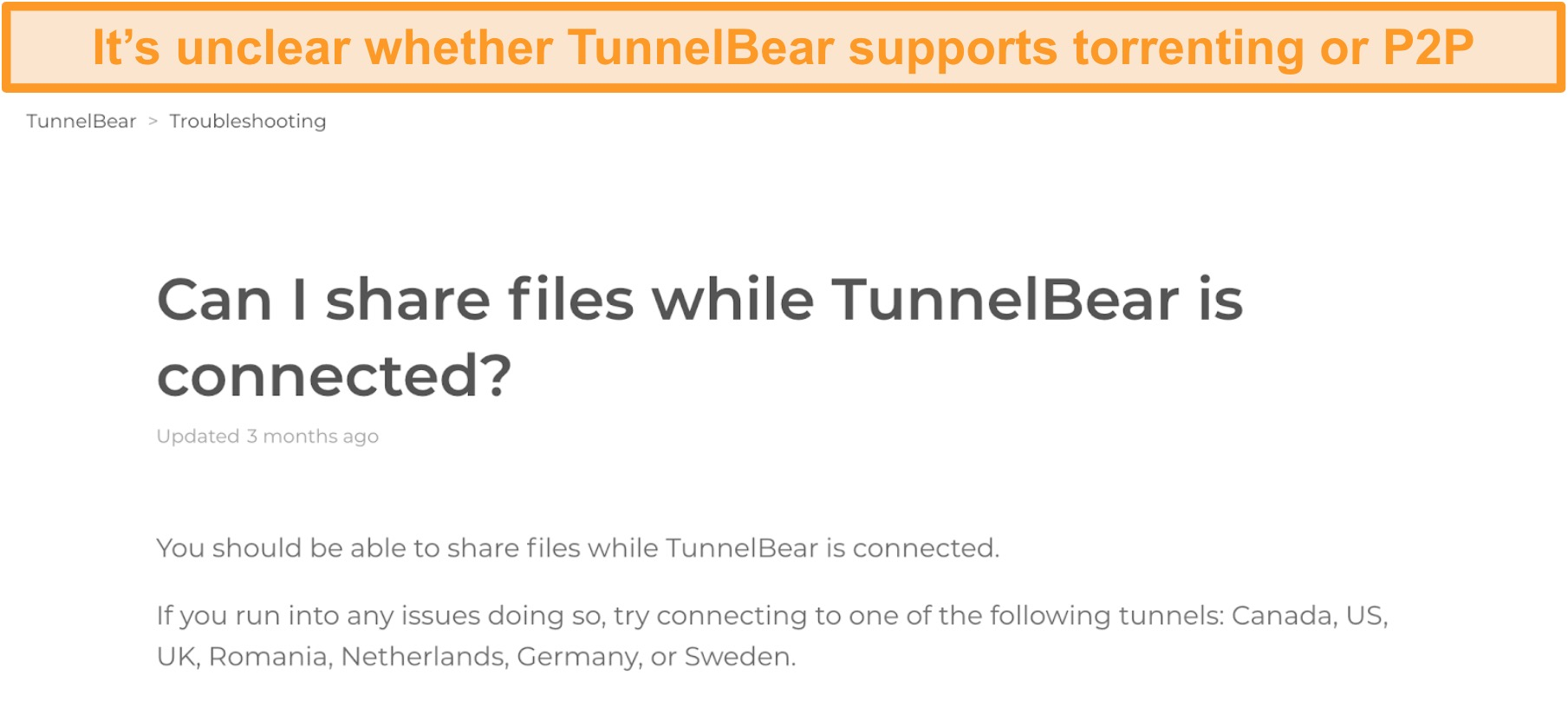 Screenshot of TunnelBear's troubleshooting page on file sharing