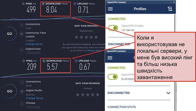 скріншот двох тестів швидкості, один із лондонським сервером, інший із сервером Сіднея