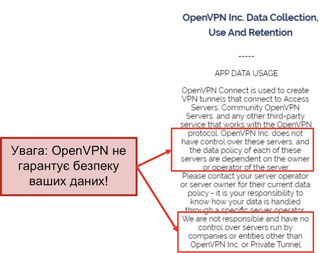 скріншот політики конфіденційності OpenVPN.