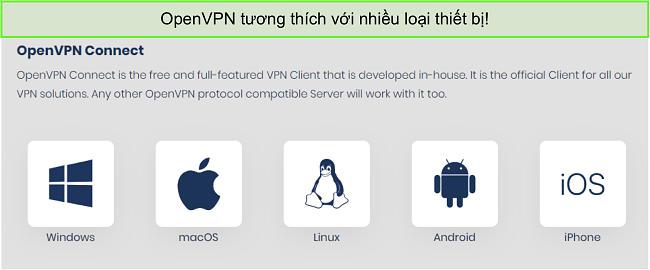 Ảnh chụp màn hình của các thiết bị mà bạn có thể sử dụng OpenVPN.
