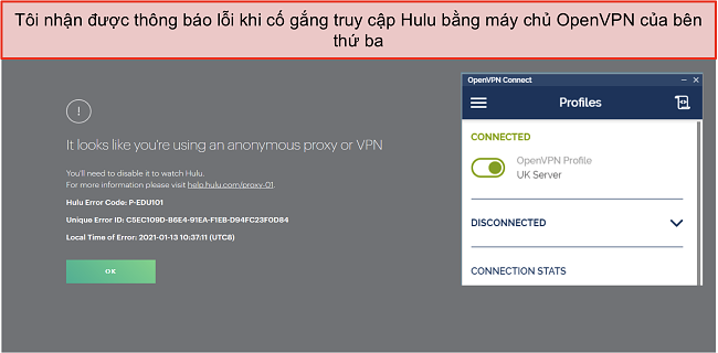 Ảnh chụp màn hình của lỗi Hulu VPN, với ứng dụng OpenVPN đang mở bên cạnh.