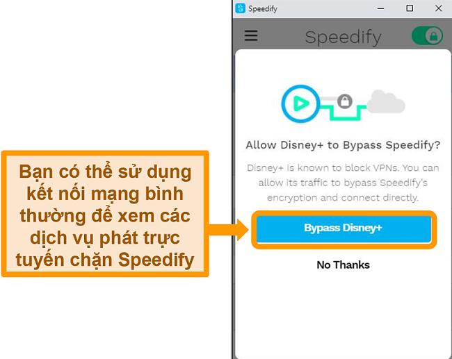 Ảnh chụp màn hình giao diện người dùng của Speedify hiển thị tùy chọn bỏ qua cho Disney +