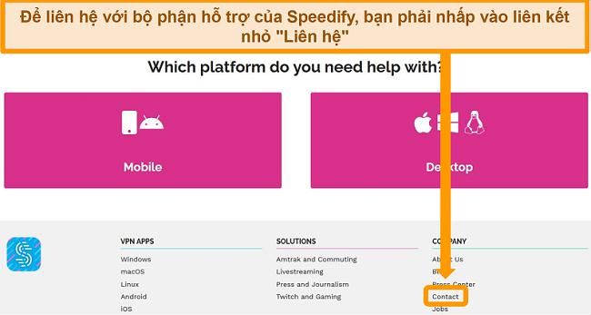 Ảnh chụp màn hình trang hỗ trợ trên trang web của Speedify