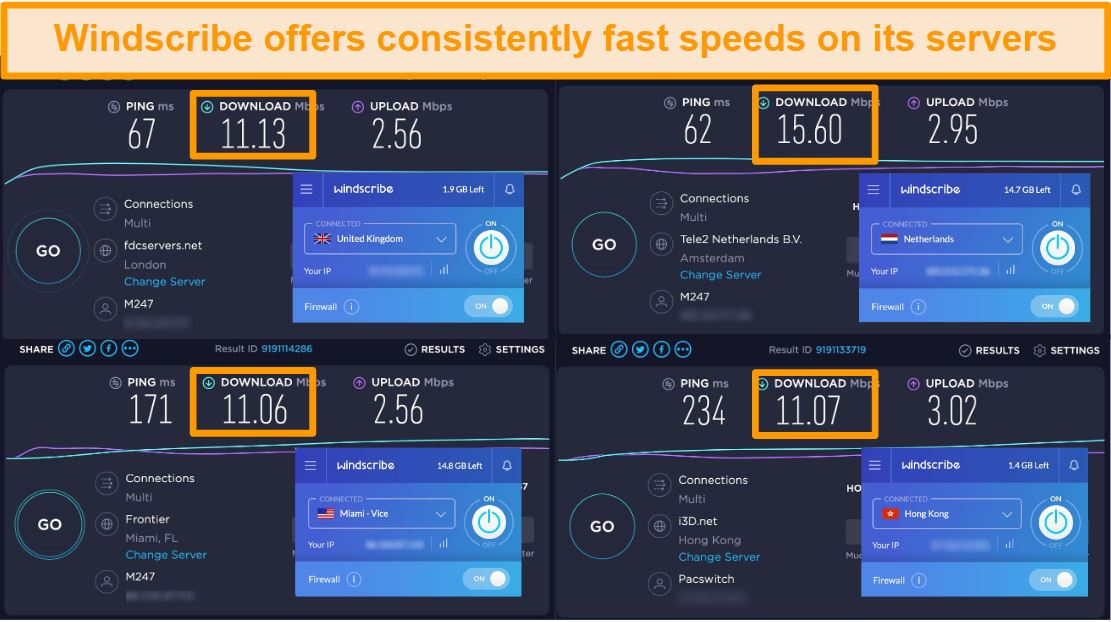 Screenshot of speed test results for Windscribe VPN and its servers in the United Kingdom, Netherlands, United States, and Hong Kong