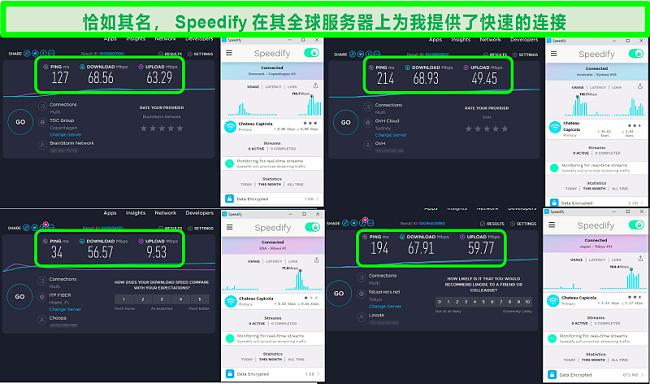 Speedify连接到丹麦,澳大利亚,美国和日本的服务器时的速度测试的屏幕快照